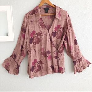 Lane Bryant Dusty Rose Wrap Bell Sleeve Silk Top
